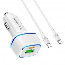 Car charger Borofone BZ14A PD20W+QC3.0 whit 2 USB connectors white