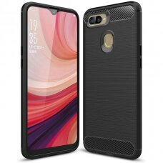 Carbon Case Flexible Cover TPU Case for Oppo A12 / A5s / A7 black