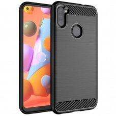 Carbon Case Flexible Cover TPU Case for Samsung Galaxy A11 / M11 black