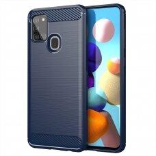Carbon Case Flexible Cover TPU Case for Samsung Galaxy A21S blue