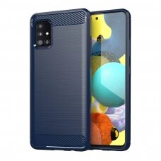 Carbon Case Flexible Cover TPU Case for Samsung Galaxy M31s blue