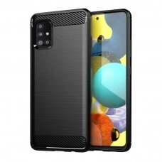 Carbon Case Flexible Cover TPU Case for Samsung Galaxy M51 black