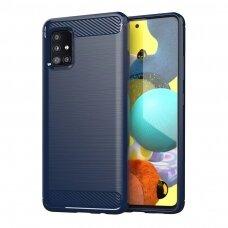 Carbon Case Flexible Cover TPU Case for Samsung Galaxy M51 blue