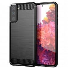 Carbon Case Flexible Cover TPU Case for Samsung Galaxy S21+ 5G (S21 Plus 5G) black