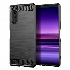 Carbon Case Flexible Cover TPU Case for Sony Xperia 5 black (las27) (SNYXP)