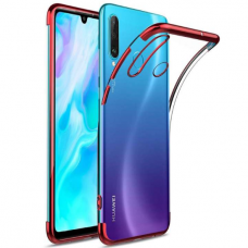 Clear Color Case Gel TPU Electroplating frame Cover for Huawei P30 Lite red (ijg49) (HUP30LT)