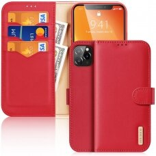 Dux Ducis Hivo Genuine Leather Bookcase type case for iPhone 11 Pro red