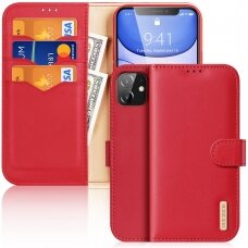 Dux Ducis Hivo Genuine Leather Bookcase type case for iPhone 11 red