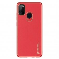 Dux Ducis Yolo elegant case made of soft TPU and PU leather for Samsung Galaxy M30s red
