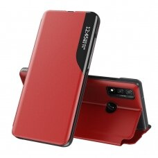Eco Leather View Case elegant bookcase type case with kickstand for Huawei P Smart 2019 red