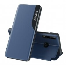 Eco Leather View Case elegant bookcase type case with kickstand for Huawei P40 Lite E blue