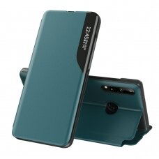 Eco Leather View Case elegant bookcase type case with kickstand for Huawei P40 Lite E green