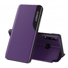 Eco Leather View Case elegant bookcase type case with kickstand for Huawei P40 Lite E purple