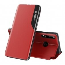 Eco Leather View Case elegant bookcase type case with kickstand for Huawei P40 Lite E red