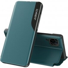 Eco Leather View Case elegant bookcase type case with kickstand for Huawei P40 Lite green