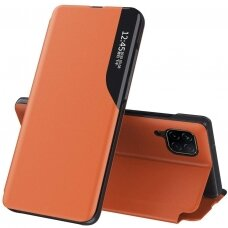 Eco Leather View Case elegant bookcase type case with kickstand for Huawei P40 Lite orange