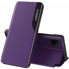 Eco Leather View Case elegant bookcase type case with kickstand for Huawei P40 Lite purple