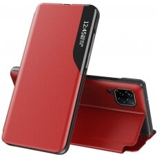 Eco Leather View Case elegant bookcase type case with kickstand for Huawei P40 Lite red