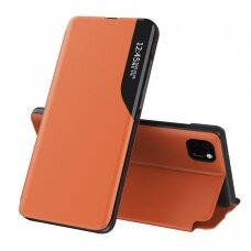 Eco Leather View Case elegant bookcase type case with kickstand for Huawei Y5p orange