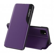 Eco Leather View Case elegant bookcase type case with kickstand for Huawei Y5p purple