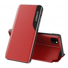 Eco Leather View Case elegant bookcase type case with kickstand for Huawei Y5p red