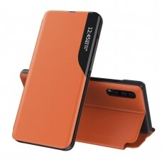 Eco Leather View Case elegant bookcase type case with kickstand for Samsung Galaxy A10 orange