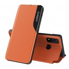 Eco Leather View Case elegant bookcase type case with kickstand for Samsung Galaxy A40 orange