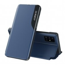 Eco Leather View Case elegant bookcase type case with kickstand for Samsung Galaxy A51 blue