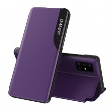 Eco Leather View Case elegant bookcase type case with kickstand for Samsung Galaxy A51 purple