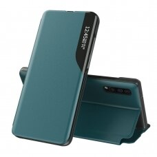 Eco Leather View Case elegant bookcase type case with kickstand for Samsung Galaxy A70 green