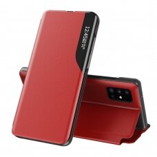Eco Leather View Case elegant bookcase type case with kickstand for Samsung Galaxy A71 red