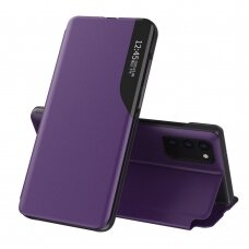Eco Leather View Case elegant bookcase type case with kickstand for Samsung Galaxy M51 purple