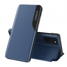 Eco Leather View Case elegant bookcase type case with kickstand for Samsung Galaxy S20 FE 5G blue