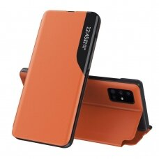 Eco Leather View Case elegant bookcase type case with kickstand for Samsung Galaxy S20 orange