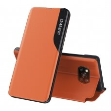 Eco Leather View Case elegant bookcase type case with kickstand for Xiaomi Poco X3 NFC / Poco X3 Pro orange