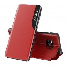 Eco Leather View Case elegant bookcase type case with kickstand for Xiaomi Poco X3 NFC / Poco X3 Pro red