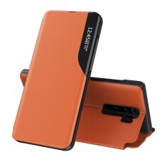 Eco Leather View Case elegant bookcase type case with kickstand for Xiaomi Redmi Note 8 Pro orange