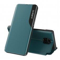 Eco Leather View Case elegant bookcase type case with kickstand for Xiaomi Redmi Note 9 Pro / Redmi Note 9S green