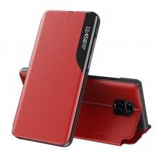 Eco Leather View Case elegant bookcase type case with kickstand for Xiaomi Redmi Note 9 Pro / Redmi Note 9S red