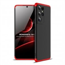 GKK 360 Protection Case Front and Back Case Full Body Cover Samsung Galaxy S21 Ultra 5G black-red