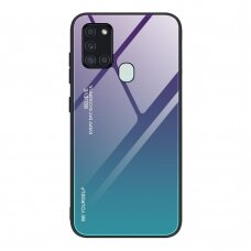 Gradient Glass Durable Cover with Tempered Glass Back Samsung Galaxy A21S green-purple