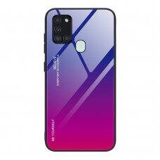 Gradient Glass Durable Cover with Tempered Glass Back Samsung Galaxy A21S pink-purple