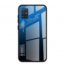 Gradient Glass Durable Cover with Tempered Glass Back Samsung Galaxy A51 black-blue