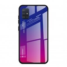 Gradient Glass Durable Cover with Tempered Glass Back Samsung Galaxy A51 pink-purple