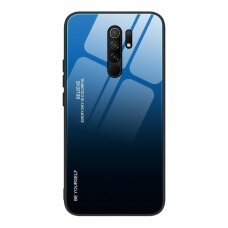 Gradient Glass Durable Cover with Tempered Glass Back Xiaomi Redmi 9 black-blue