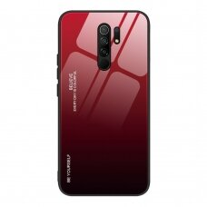 Gradient Glass Durable Cover with Tempered Glass Back Xiaomi Redmi 9 black-red