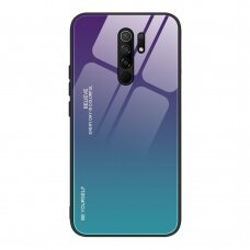 Gradient Glass Durable Cover with Tempered Glass Back Xiaomi Redmi 9 green-purple