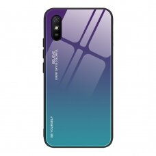 Gradient Glass Durable Cover with Tempered Glass Back Xiaomi Redmi 9A green-purple
