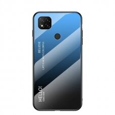 Gradient Glass Durable Cover with Tempered Glass Back Xiaomi Redmi 9C black-blue
