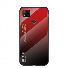 Gradient Glass Durable Cover with Tempered Glass Back Xiaomi Redmi 9C black-red